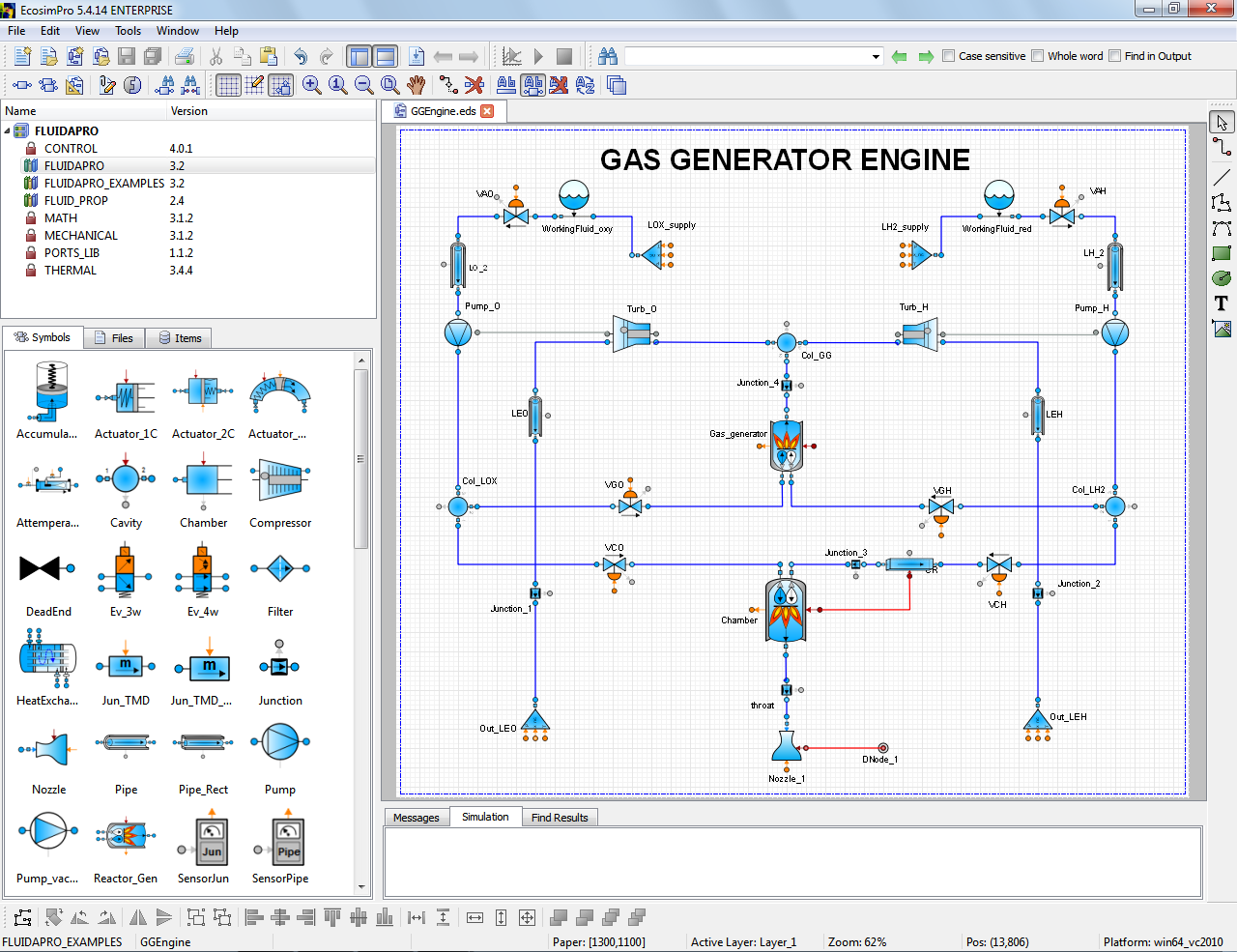 Picture showing EcosimPro schematic editor